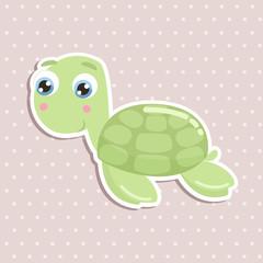 Cute sea turtle sticker vector illustration. Flat design.