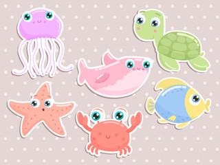 Cute sea animal stickers. Flat design.