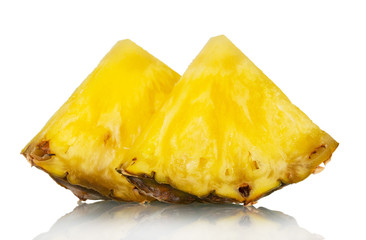 Juicy pineapple pieces isolated on white. Closeup