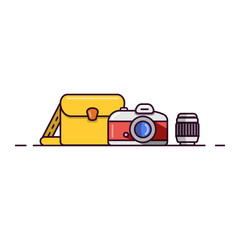 camera, lens, backpack. flat design icon. cartoon vector illustration
