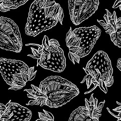 Strawberries seamless pattern. Vector hand drawn graphic illustration.