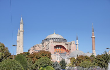 Exterior of the Hagia Sophia (Ayasofya) mosque museum, in Sultanahmet, Historic Areas of Istanbul, on a sunny day.