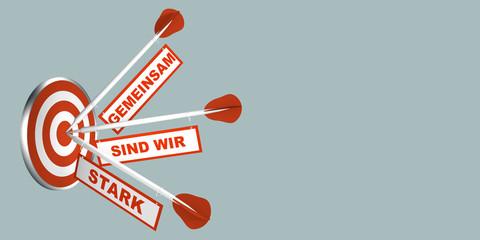 Pfeile auf Zielscheibe. Konzept zur Motivation. Mit Text in Deutsch: Gemeinsam sind wir stark.  3d render