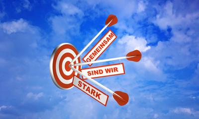 Pfeile auf Zielscheibe im Wolkenhimmel. Konzept zur Motivation. Mit Text in Deutsch: Gemeinsam sind wir stark.  3d render