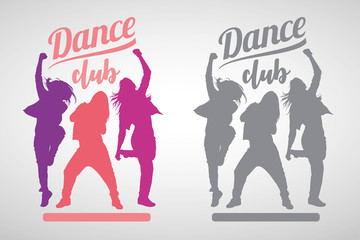 Silhouettes of expressive girls dancing modern dance styles. Vector illustration of dancers with dance club lettering above.