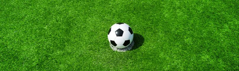 Fussball auf grünem Rasen im Panorama, Querformat für Banner