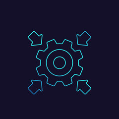 Integration icon with cogwheel and arrows, linear
