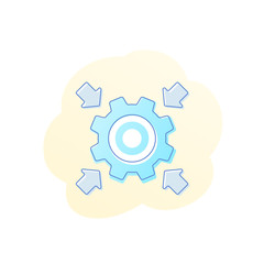 Integration vector icon with cogwheel, gear