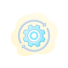 Rotation vector icon with cogwheel, gear