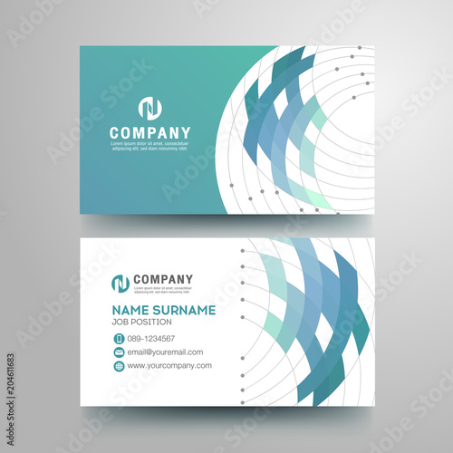 Modern business card with geometric blue gray color\