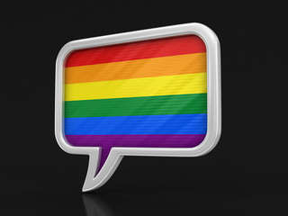 Speech bubble with LGBT flag. Image with clipping path