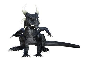 3D Rendering Fantasy Black Dragon on White