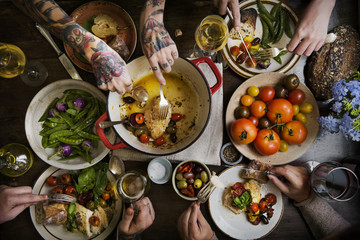 Adults at a dinner party food photography recipe idea