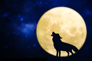 Howling wolf silhouette over a full moon