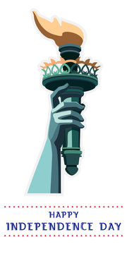Statue of Liberty.Hand torch.USA.New York sculpture.National Symbol of America.Illustration,white background.Use presentation of corporate reporting,marketing,logo,flat banner,postcard,cartoon,vector