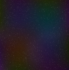 Night starry sky, cosmic dust. Dark background with bright particles.