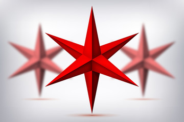 Volume six-pointed red stars, blurred objects, geometry crystals shape, mesh version, 3d abstract vector