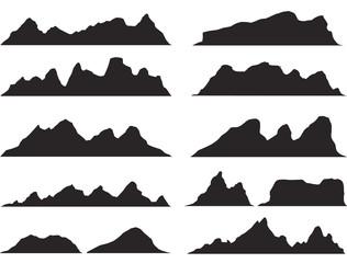 Set of black and white mountain silhouettes.Background border of rocky mountains.