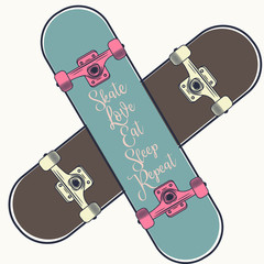 Lifestyle vector illustration with 2 skateboards girl and boy. Love, skate, eat, repeat