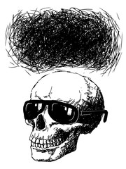 skull with sun glasses and speech bubble
