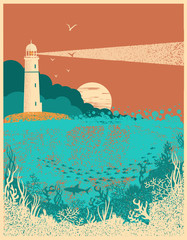 Lighthouse on sunset with sea waves.Underwater sea poster background