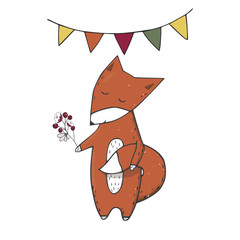 Red fox clings to tail character clip art vector forest animal face smile full ribbon cute wildlife geometric text cat dog card celebration sleep eyes print birthday color texture white background