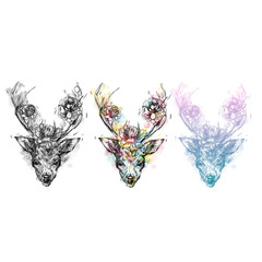 A young deer with horny horns on which peonies are planted. Illustration. Design a tattoo, a symbol of mystical magic for your use.