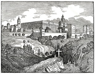 Alhambra,  palace and fortress complex in Granada, Andalusia, Spain (from Das Heller-Magazin, December 6, 1834)