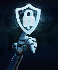 White humanoid hand using web security 3D rendering