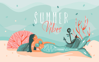 Hand drawn vector abstract cartoon summer time graphic illustrations art template background with ocean bottom,beauty mermaid girl and Summer Vibes typography quote isolated on blue water waves