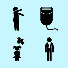 icons about Human with business, tidy, comb, man and character