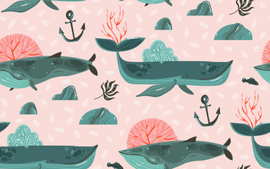 Hand drawn vector abstract cartoon graphic summer time underwater ocean bottom illustrations seamless pattern with coral reefs,beauty big whales,seaweeds and anchor isolated on pink pastel background