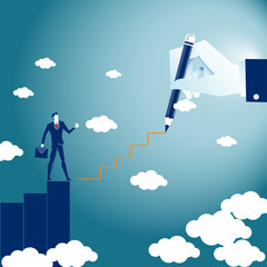 Business man  walk to the Up Level investment by business consult draw the staircase in the air  on the Blue background. Concept Illustration Vector.