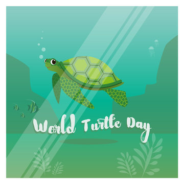 Illustration of the turtle in the ocean for the World Turtle Day 23rd of May
