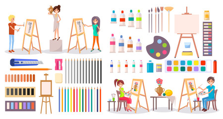 Artists at Work and Art Supplies Set Illustration