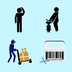 icons about Human with vacation, working, comb, stress and yoga