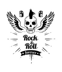 Rock n roll Forever Skull Vector Illustration