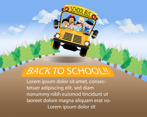 Back to School , Wide space for text.Vector Illustration