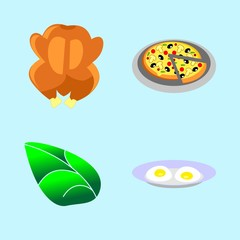 icons about Food with chiken, eat, baked, dinner and salami