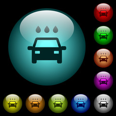 Car wash icons in color illuminated glass buttons