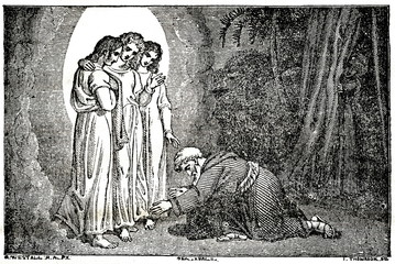 Abraham with the Three Angels; Sarah looks at the door (from Das Heller-Magazin, November 22, 1834) Fotomurales