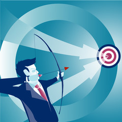 Concept business vector illustration. Businessman holding bow and shooting to archery target.