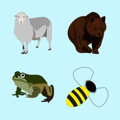 icons about Animal with bee, computer, cartoon, art and green