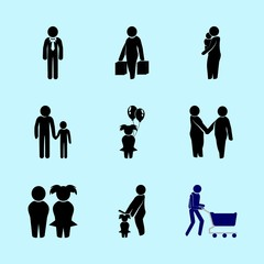 icons about Human with female, son, shopper, motherhood and birthday girl