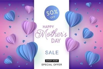 Blue and violet heart shapes in paper art on gradient background for Mothers Day special offer banner - holiday vector illustration of abstract hearts made from paper or cardboard for card.