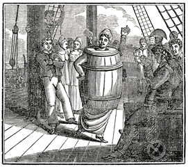 Punishment of disobedient female convict on ship Lady Juliana at a 1789 trip from Britain to Australia; from Life and Adventures of John Nicol (from Das Heller-Magazin, November 13, 1834)
