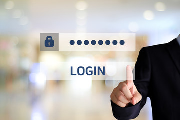 Businessman hand touching password login device screen over blur background, banner, cyber security concept