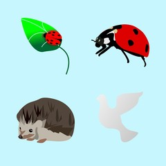icons about Animal with love, legs, painting, urchin and flower