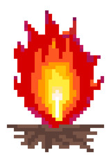 Pixel art: a camp fire, with big high red flames.