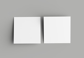 Bi fold square brochure or invitation mock up isolated on gray background. Fotomurales